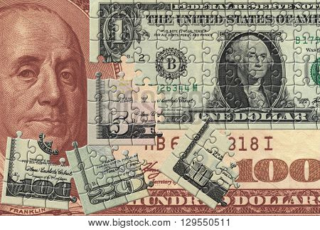 Background in the manner of dollar collected from puzzle
