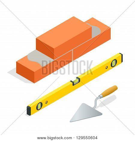 Bricks and masonry tools. Flat 3d isometric vector illustration