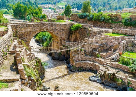 Pre-Inca Leather Suspension Bridge at Checacupe in Cusco peru