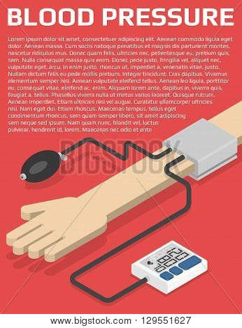 Medical flyer design template. Blood pressure monitor on hand. Isometric vector illustration