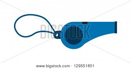 Metal whistle isolated sport equipment judge warning sound tool vector icon.