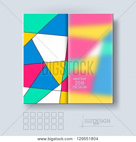 Multicolor Design Templates with Frosted Glass Insert. Geometric Triangular Abstract Modern Vector Background.