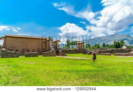Residential area in the Temple of Wiracocha or Temple of Raqchi an Inca Archaeological Site in Cusco Region Peru