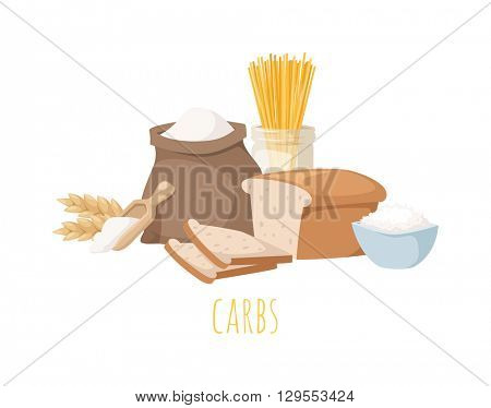Carbohydrate food vector illustration.