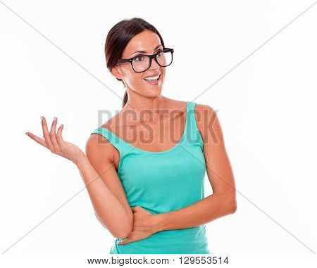 Smiling Brunette Woman Looking Away Gesturing