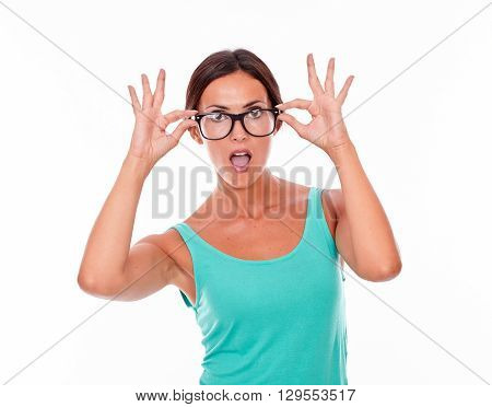 Surprised Adult Woman Holding Her Glasses