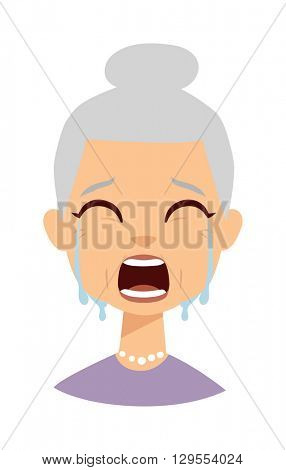 Crying face vector illustration.