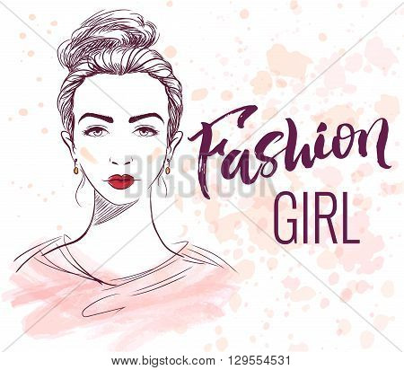 Fashion girl illustration with hand lettering ink and watercolor effects on background.