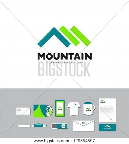 Corporate identity vector company logo icon element template mountain peak outdoor