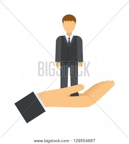 Businessman control people concept man in hand manager vector.