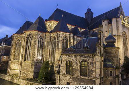 Saint-Michaels Church in Ghent in Belgium in the evening