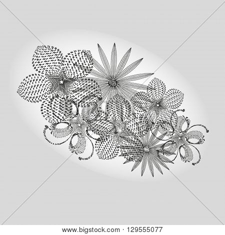 Drawing black white bouquet Illustration on a gray background with style pointillism black white bouquet for decoration and design
