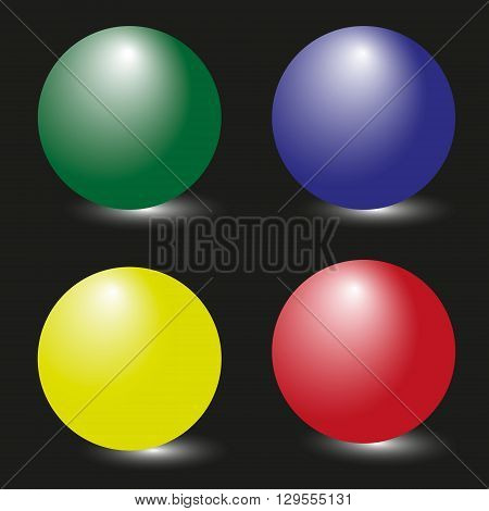 Picture four bright sphere Drawing set of four colorful spheres on a black background with white shadow lighting for decoration and design