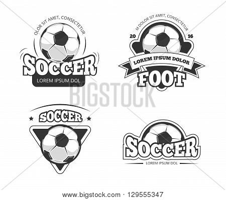 Soccer league club vector badges, labels. Soccer ball, and soccer label, badge and emblem soccer club illustration