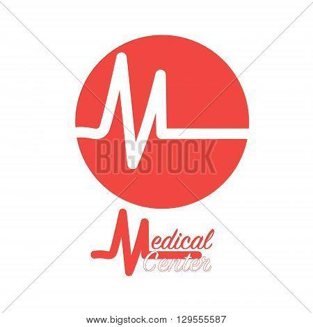 Picture logo Medical Center Image Medical Center logo on a white background isolated red heart with a fragment of the cardiogram