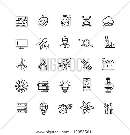 Technologies and science vector line icons. Science technology icon, science research and science knowledge illustration