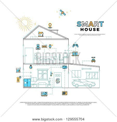 Smart house technology system vector concept. House with innovation technology, control technology home, smart technology system illustration