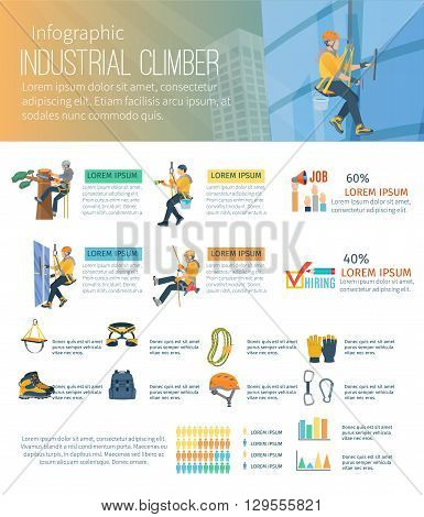Infographic about industrial climber profession alpinism and equipment for high-altitude work vector illustration