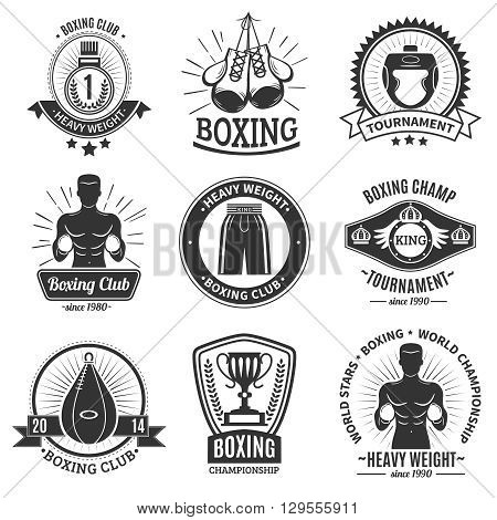 Set of boxing club black logo and emblems with boxer torso gloves punching bag and championship cup on white background isolated vector illustration
