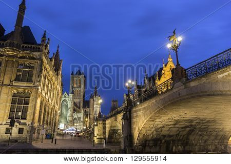 Historical centre of Ghent with old post office Saint-Nicholas Church and Belfry during Christmas