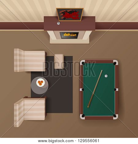 Hotel guestroom lounge with fireplace armchairs and billiard table design realistic top view image vector illustration
