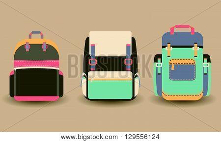Set of 3 backpacks. flat style trendy modern vector illustration