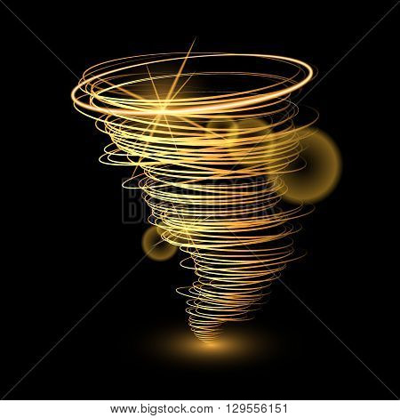 Abstract gold tornado on black background.Vector illustration