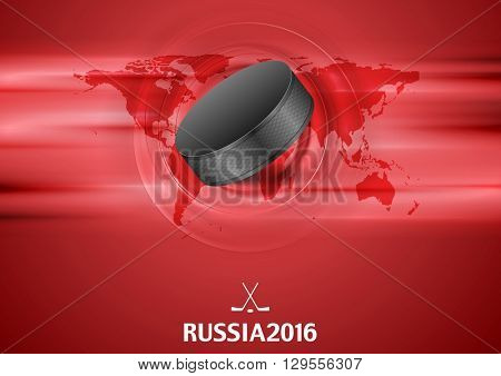 Red abstract hockey background with black puck. Vector graphic winter sport design