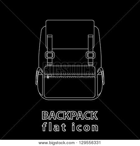 Monochrome flat icon on black background. Backpack Line icon.