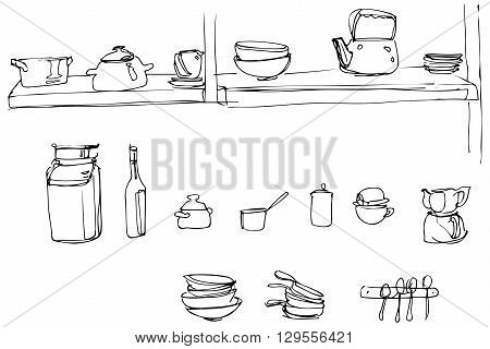 black and white vector sketch of kitchen utensils in the range