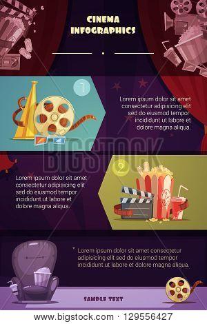 Cinema infographic set with movie production symbols cartoon vector illustration