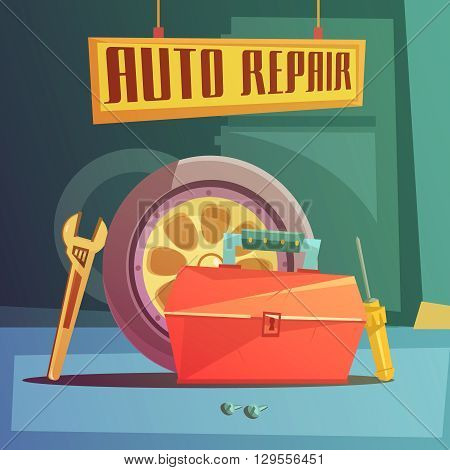 Auto repair cartoon background with spare parts and tools vector illustration