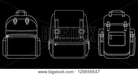 Set of monochrome flat icon on black background. Backpack Line icons.