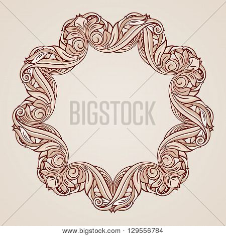 Abstract florid ornament in pastel rose pink shades
