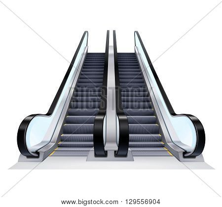 Two up and down escalators set on white background realistic isolated vector illustration