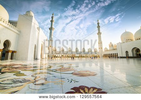 Abu Dhabi, United Arab Emirates - December 14, 2013: Sheikh Zayed Grand Mosque, Abu Dhabi, UAE