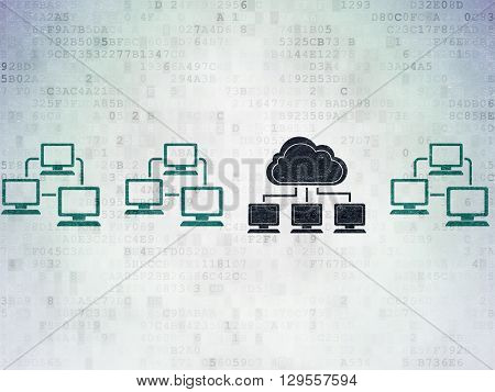 Cloud computing concept: row of Painted blue lan computer network icons around black cloud network icon on Digital Data Paper background