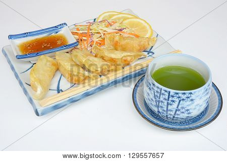 gyoza Japanese food in pan, fried dumplings with vegetables, Eating culture of Asia
