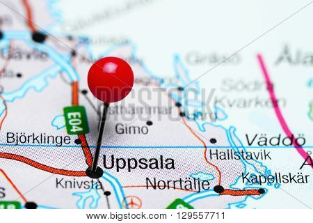 Uppsala pinned on a map of Sweden