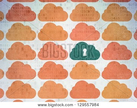 Cloud computing concept: rows of Painted orange cloud icons around green cloud with keyhole icon on Digital Data Paper background