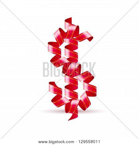Symbol of dollar is made of red curly ribbons.