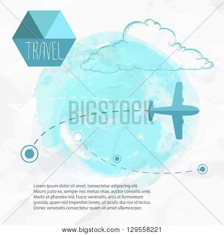 Travel by plane. Airplane on his destination routes. Watercolor blue background and flat style airplane. hand drawn sketch style cloud. Air traffic vector illustration.