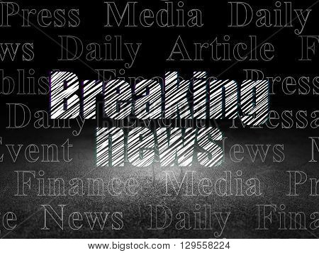News concept: Glowing text Breaking News in grunge dark room with Dirty Floor, black background with  Tag Cloud