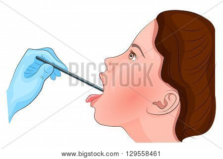 illustration of sore throat. inspection of the throat. angina