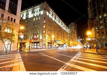road with tramway in san francisco at night