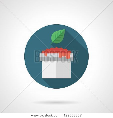 Tomato sauce in bowl with basil leaf with long shadow. Recipes for sauces, spicy menu and vegetarian food. Round flat color style vector icon. Web design element for site, mobile and business.