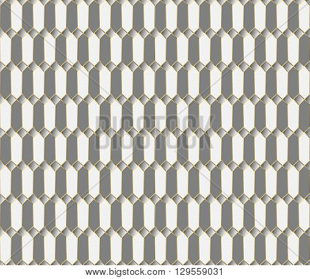 Vector seamless pattern. Stylish textile print with geometric eastern design. Ethnic fabric background. Modern fabric swatch. Seamless oriental background. Gray white and gold luxury wallpaper.