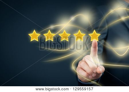 Review increase rating or ranking evaluation and classification concept. Businessman click on the fifth yellow star to increase rating of his company.