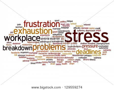 Vector concept conceptual mental stress at workplace or job abstract word cloud isolated on background