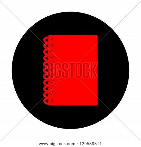Notebook simple icon. Red vector icon on black flat circle.